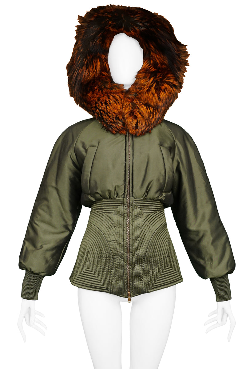 ALEXANDER MCQUEEN OLIVE GREEN & RED FOX FUR HOOD BOMBER 2007