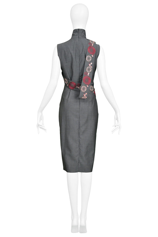 ALEXANDER MCQUEEN GREY & FLORAL CHEONGSAM INSPIRED DRESS 2001