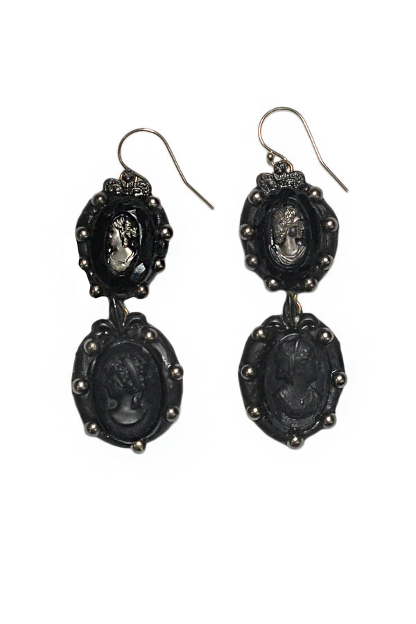 MINADEO BLACK CAMEO TWO TIER EARRINGS