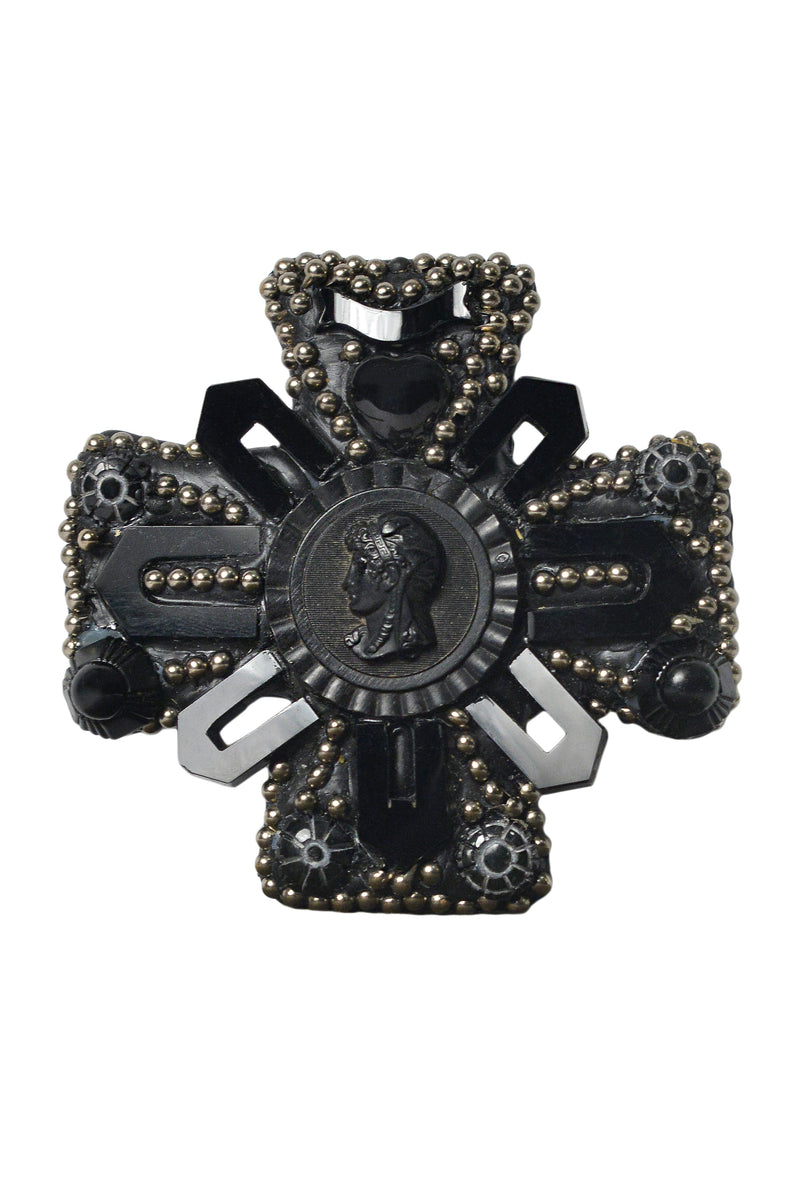 MINADEO BLACK JET & ONYX CROSS MEMENTO MORI BROOCH
