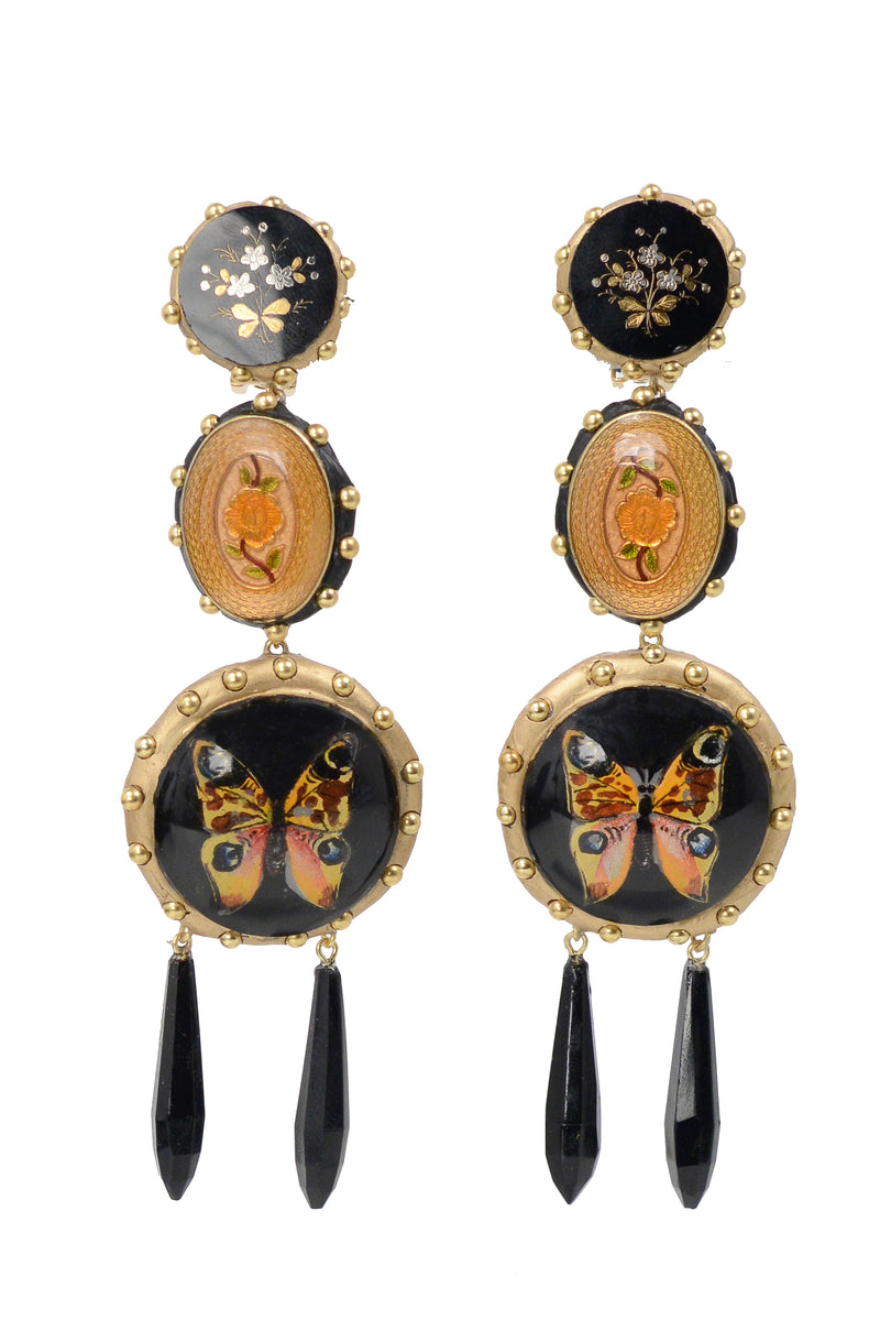 MINADEO BUTTERFLY & FLORAL CIRCLE EARRINGS