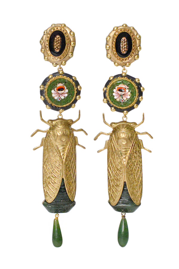 MINADEO JADE INSECT EARRINGS