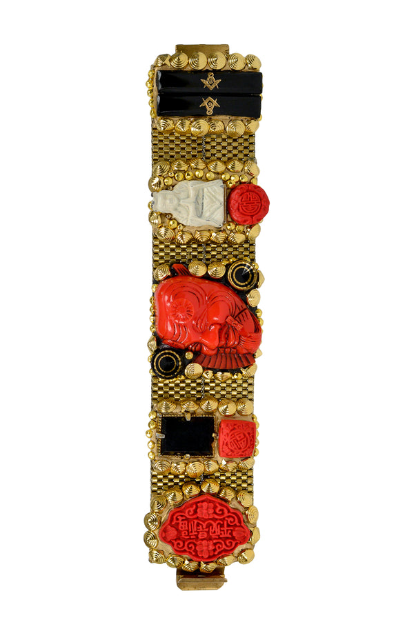 MINADEO LARGE RED NOH MASK BRACELET