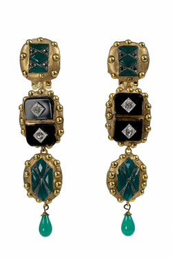 ONYX & CRYSTAL GREEN DECO EARRINGS