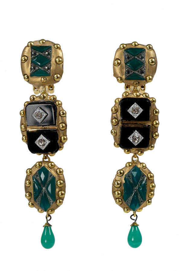 MINADEO ONYX & CRYSTAL GREEN DECO EARRINGS