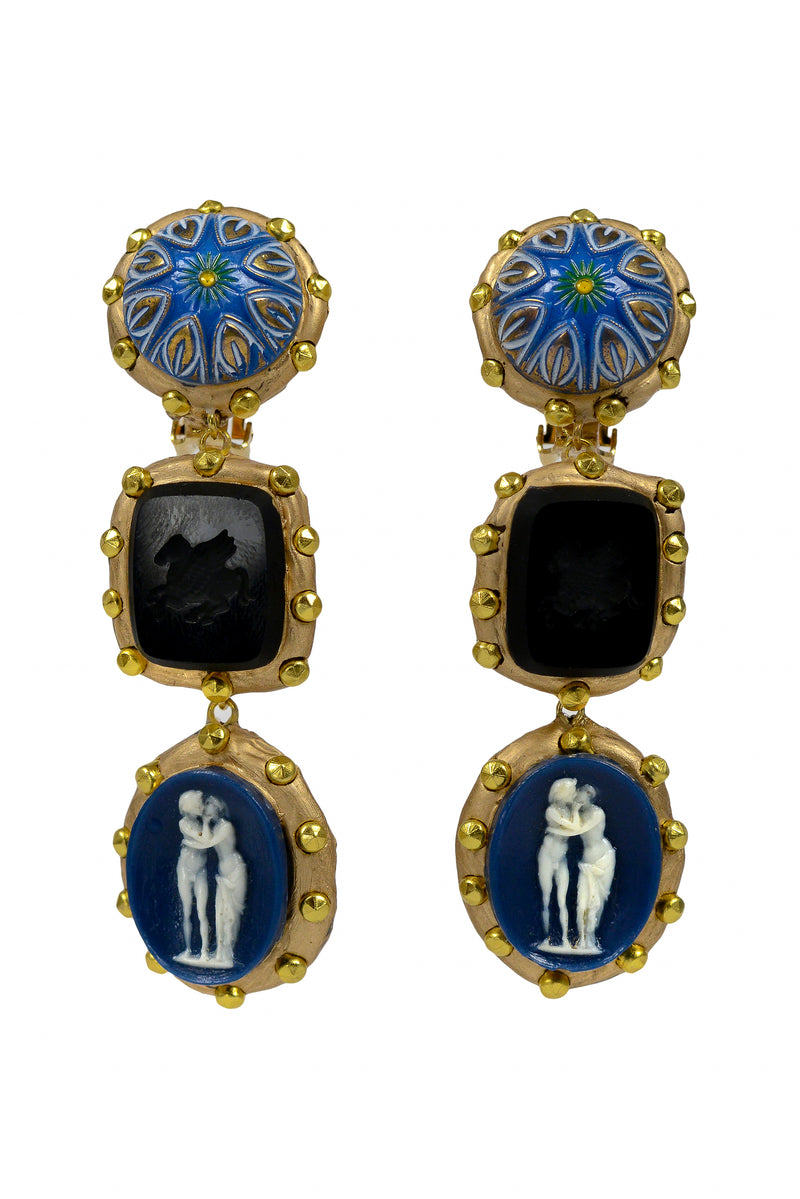 THREE TIER BLUE CAMEO EARRINGS