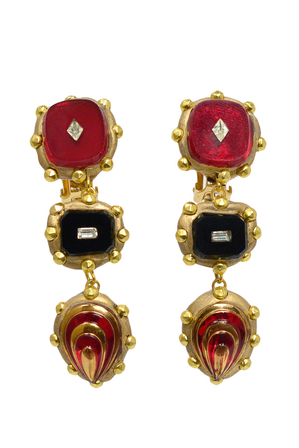 MINADEO BLACK & RED GEM DROP CLIP EARRINGS