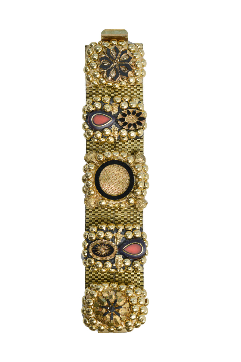 MINADEO BLACK & RED DECORATIVE DIAL BRACELET