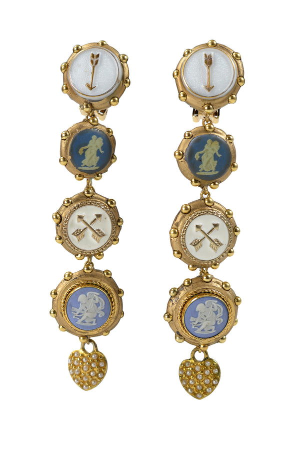 MINADEO BLUE WEDGEWOOD ANGELS & HEARTS EARRINGS