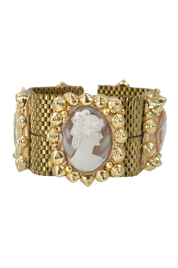 MINADEO CORAL & CREAM CAMEO WIDE BRACELET