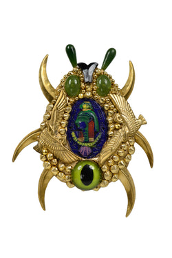 MINADEO GIANT EGYPTIAN GOLD SCARAB BROOCH