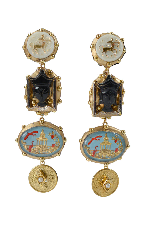 MINADEO ONYX SIAM PRINCE WITH BLUE PAGODA EARRINGS