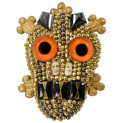 ORANGE CAT EYE SKULL BROOCH