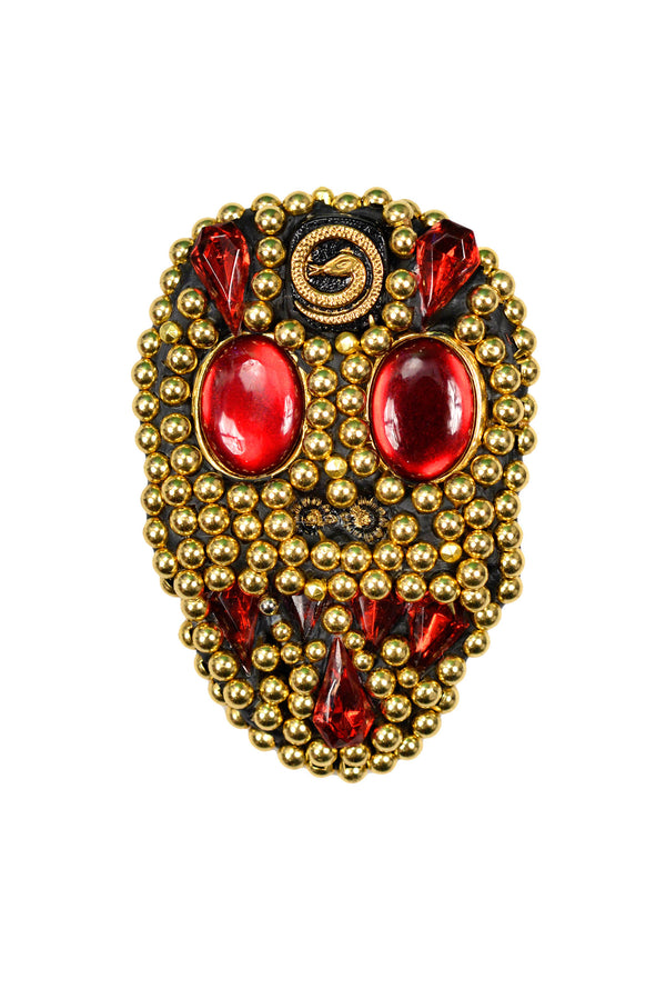 MINADEO RED SKULL BROOCH WITH SNAKE