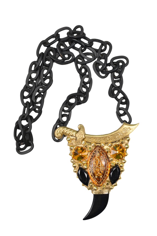 MINADEO SWORD TOPAZ & HORN NECKLACE