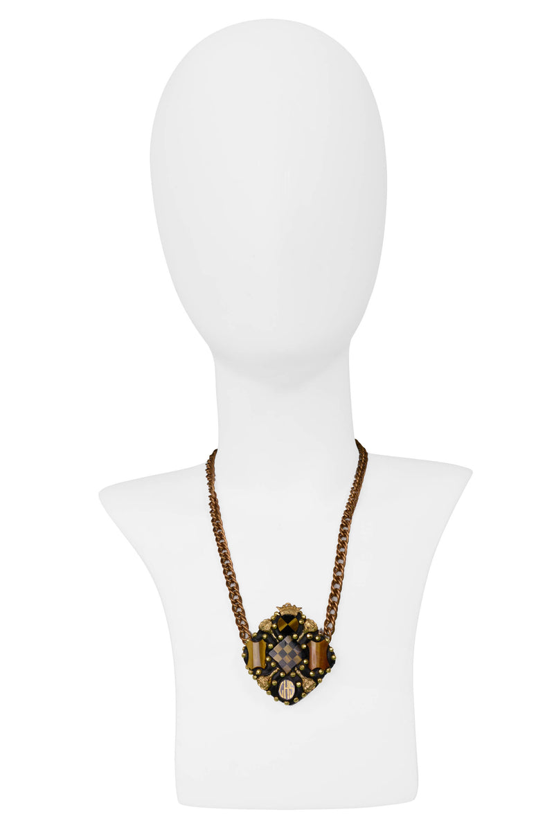 MINADEO TIGER EYE & ONYX MONOGRAM NECKLACE