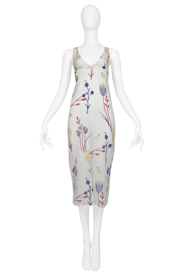 MIU MIU SS 1997 WHITE FLORAL PRINTED SLIP DRESS