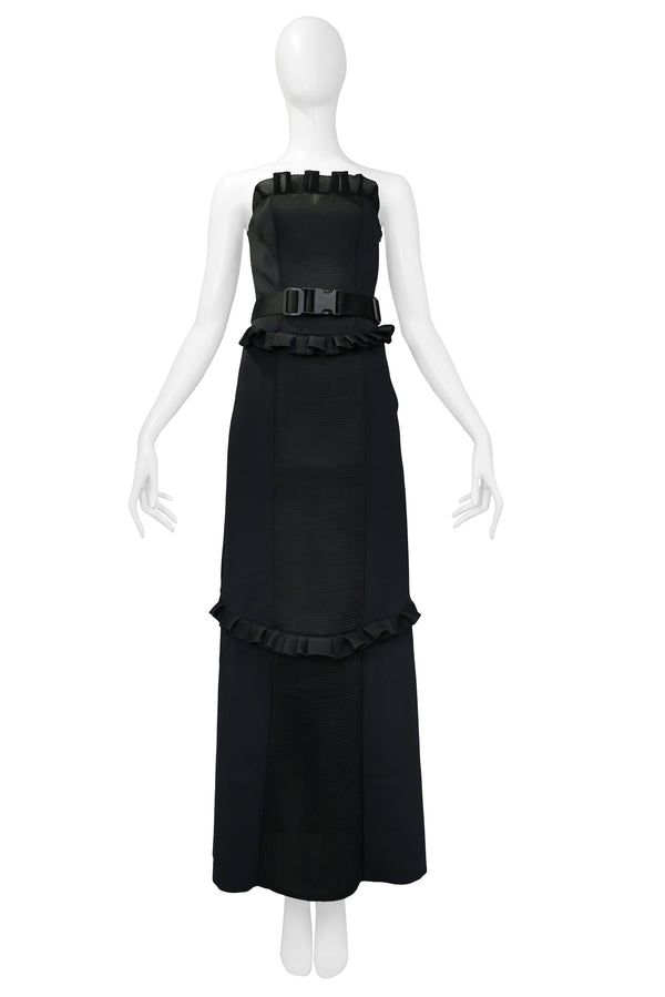 MIU MIU 1999 STRAPLESS BLACK NEOPRENE TECH GOWN