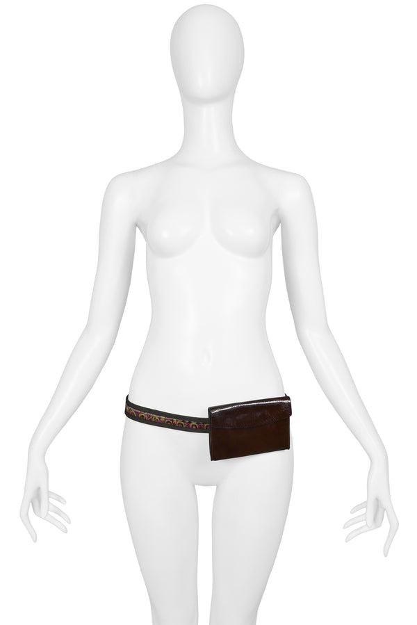MIU MIU BROWN PATENT LEATHER PSYCHEDELIC WAIST BAG BELT