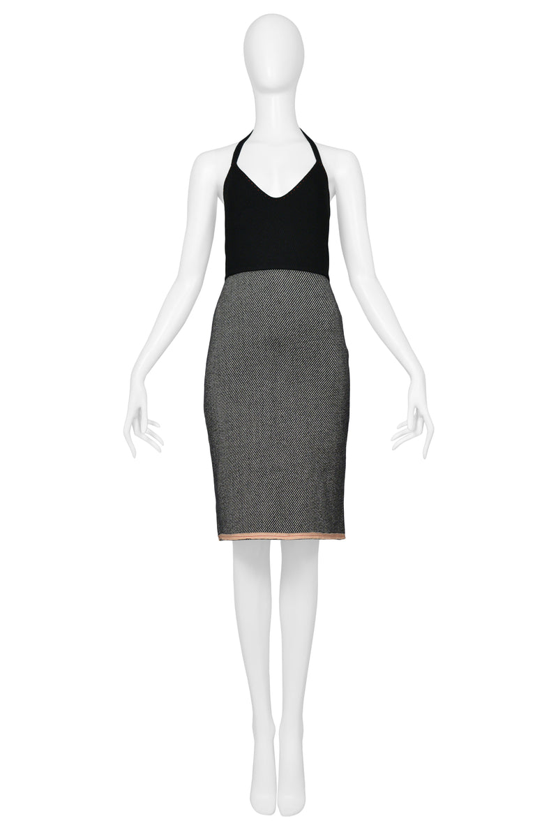 MIU MIU BLACK & GREY HALTER DRESS