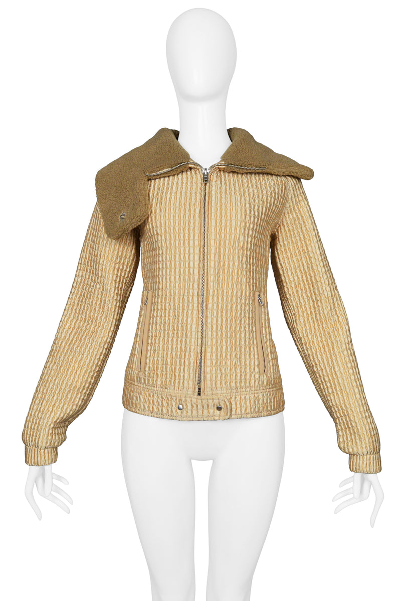 MIU MIU GOLD QUILTED & FAUX SHEARLING COLLAR JACKET 2002