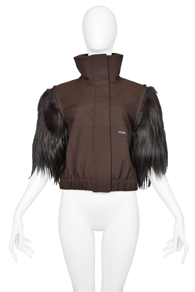 MIU MIU BROWN GOAT FUR SHORT SLEEVE JACKET 2006