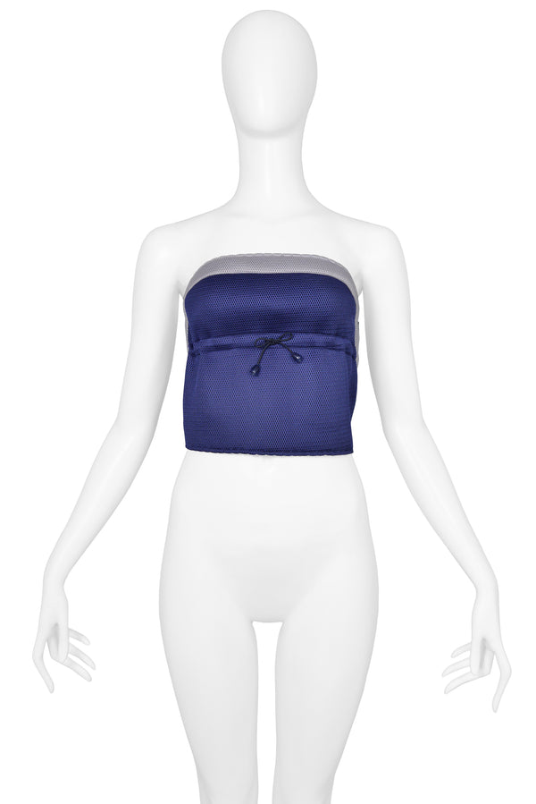MIU MIU BLUE & GREY DRAW STRING TUBE TOP