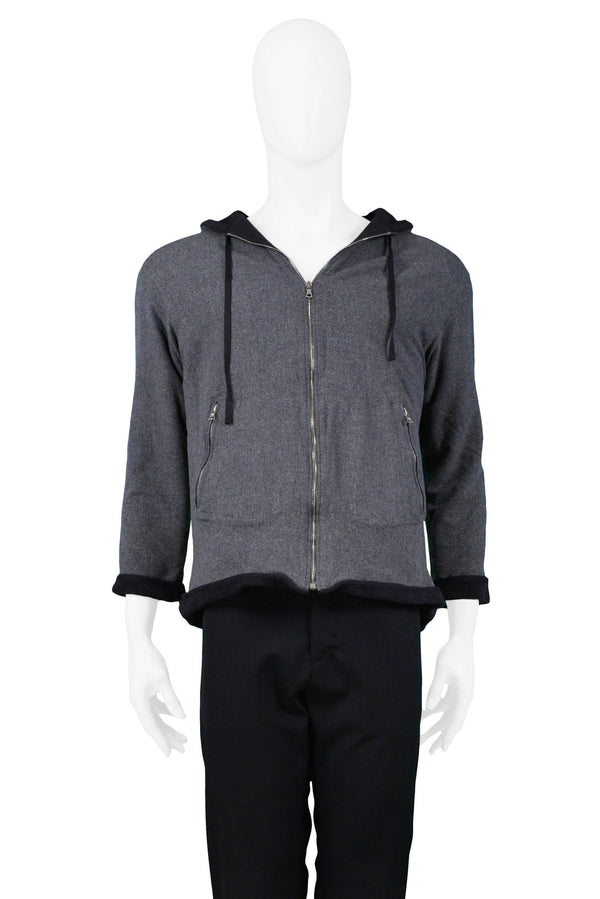 MIU MIU GREY FLEECE HOODED SWEAT JACKET