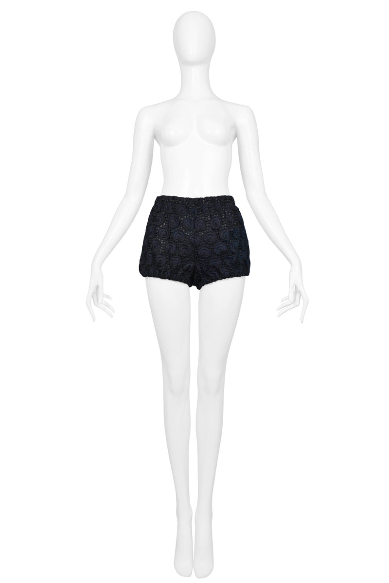 MIU MIU NAVY & BLACK EMBROIDERED SHORTS