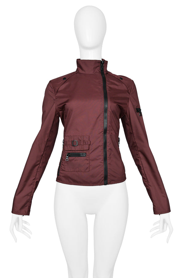 MIU MIU BURGUNDY ASYMMETRICAL ZIPPER JACKET