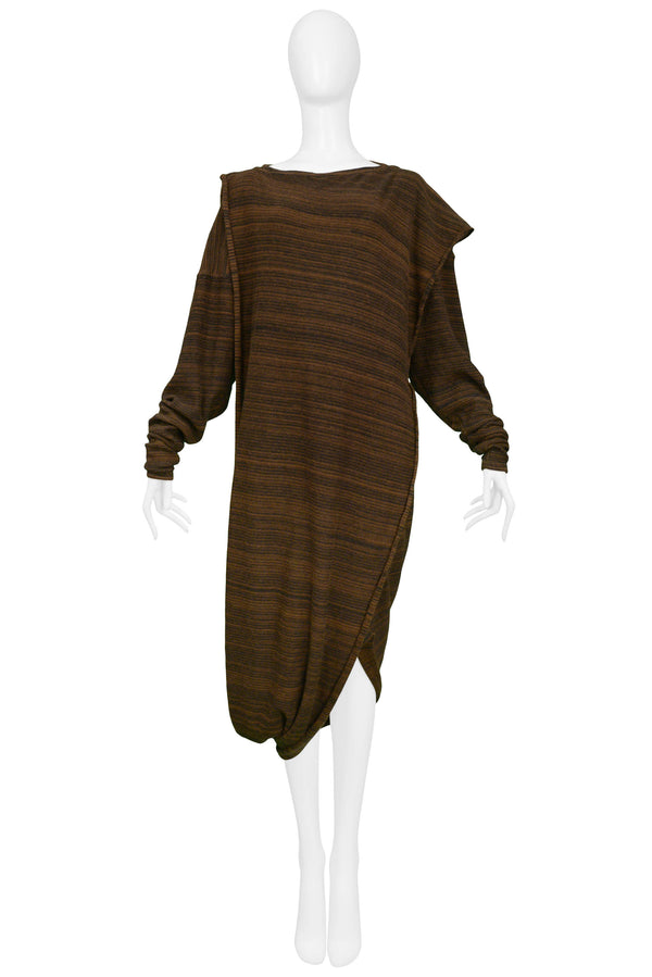 MIYAKE BROWN & BLACK STRIPE TOGA KNIT DRESS