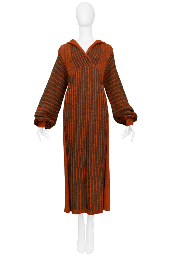 MIYAKE ORANGE & BROWN HOODED KNIT DRESS
