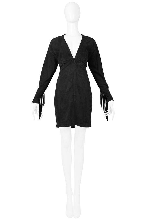 ISAAC MIZRAHI BLACK LEATHER SUEDE DRESS 1989