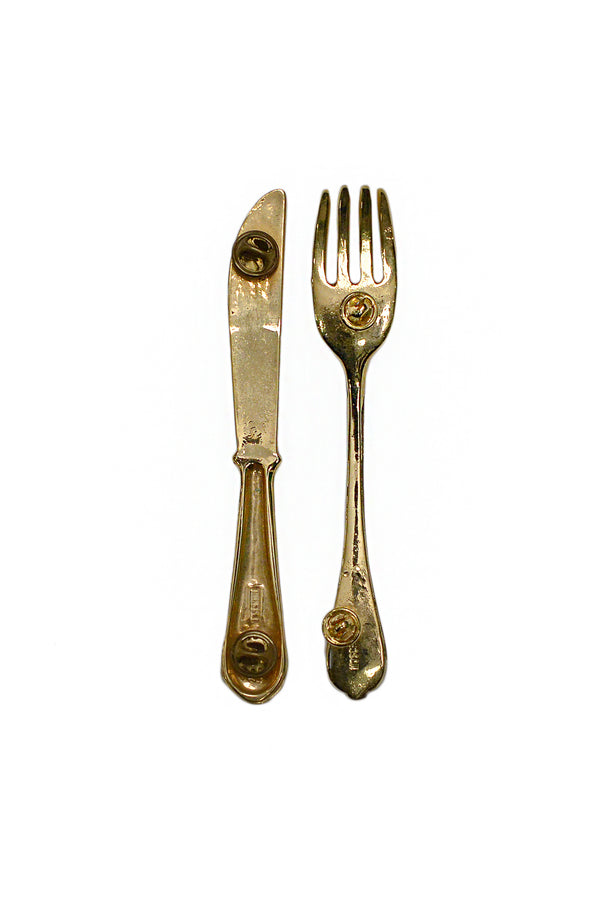 MOSCHINO FORK AND KNIFE PINS 1989