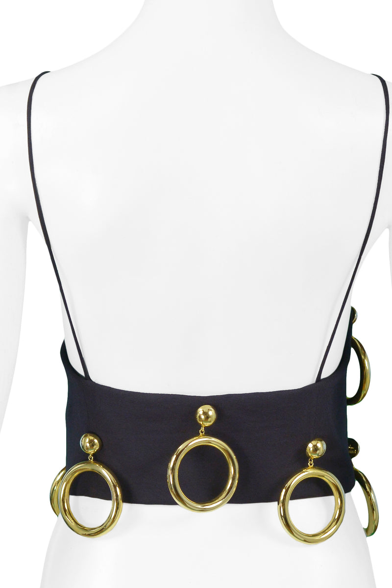 MOSCHINO GOLD EARRING BLACK BUSTIER