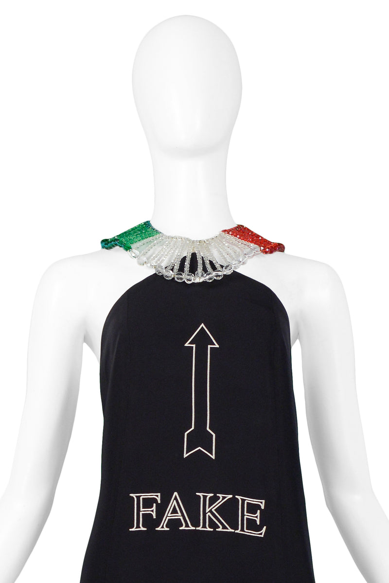 "MOSCHINO ITALIAN FLAG ""FAKE"" GLASS BEAD DRESS"