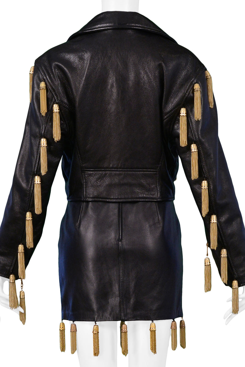 MOSCHINO  BLACK LEATHER SKIRT SUIT WTH GOLD CHAIN TASSELS 1989