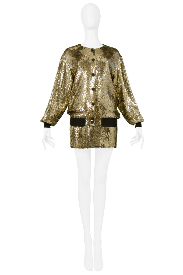 MOSCHINO 1989 GOLD SEQUIN BOMBER JACKET, BRA & SKIRT