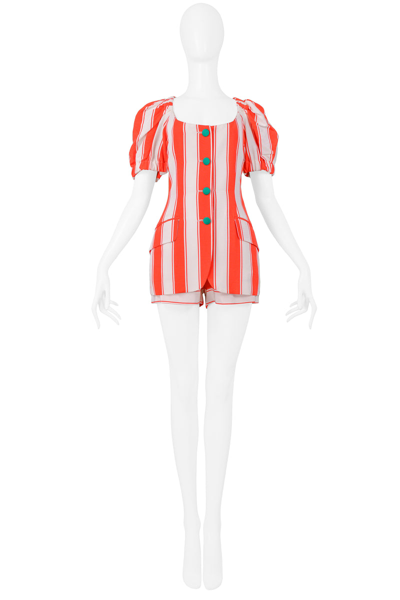 MOSCHINO 1989 RED & WHITE STRIPE JACKET & SHORTS ENSEMBLE