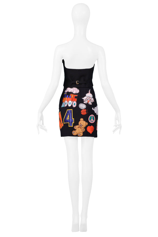 MOSCHINO 1993/94 MULTICOLOR ''WHAM'' PATCH SKIRT & BUSTIER ENSEMBLE