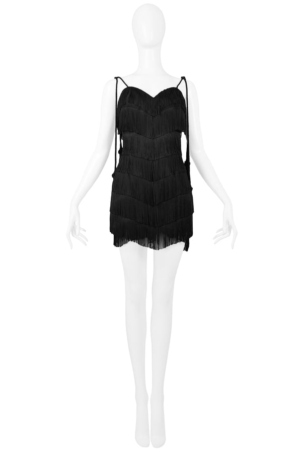 MOSCHINO BLACK FRINGED FLAPPER DRESS WITH TASSELS