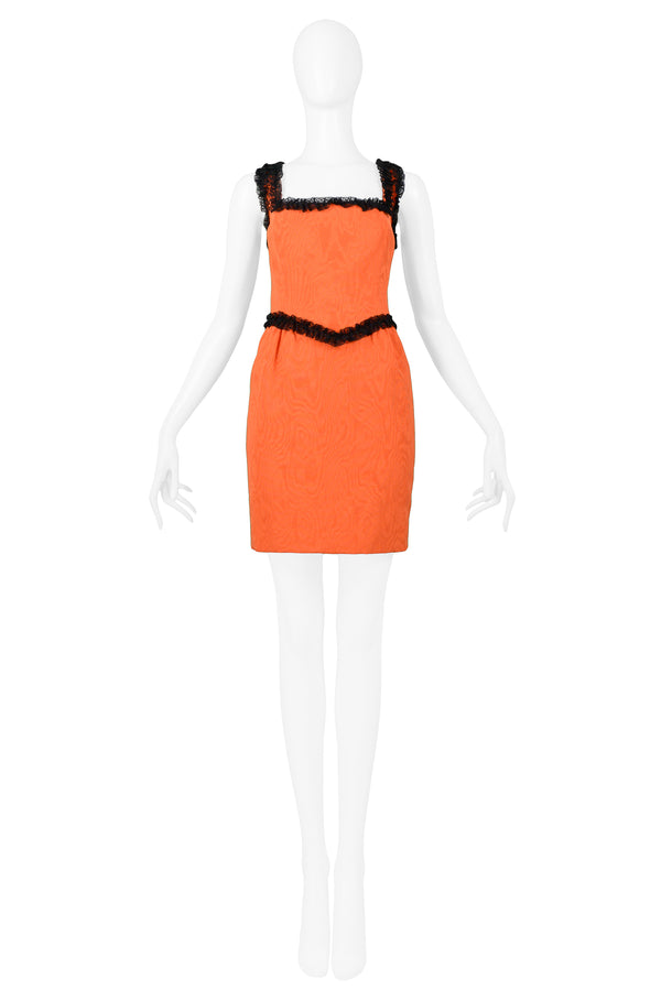 MOSCHINO COUTURE ORANGE QUILTED FAILLE WITH BLACK LACE TRIM DRESS