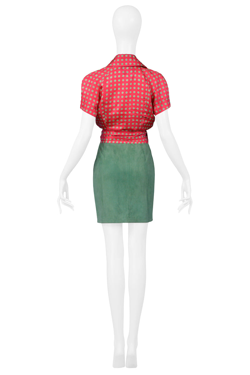 MOSCHINO PINK & GREEN DOT SUEDE SKIRT ENSEMBLE
