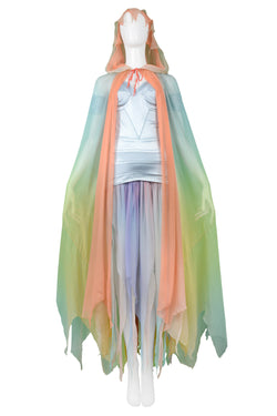 MUGLER RARE RAINBOW OMBRE GOWN & CAPE ENSEMBLE 1977
