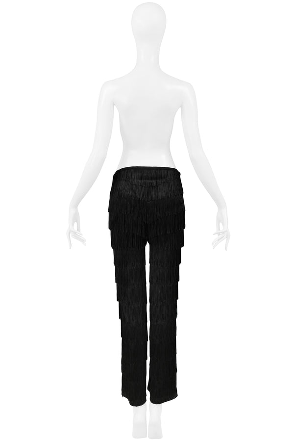 VINTAGE BLACK FRINGE COCKTAIL PANTS