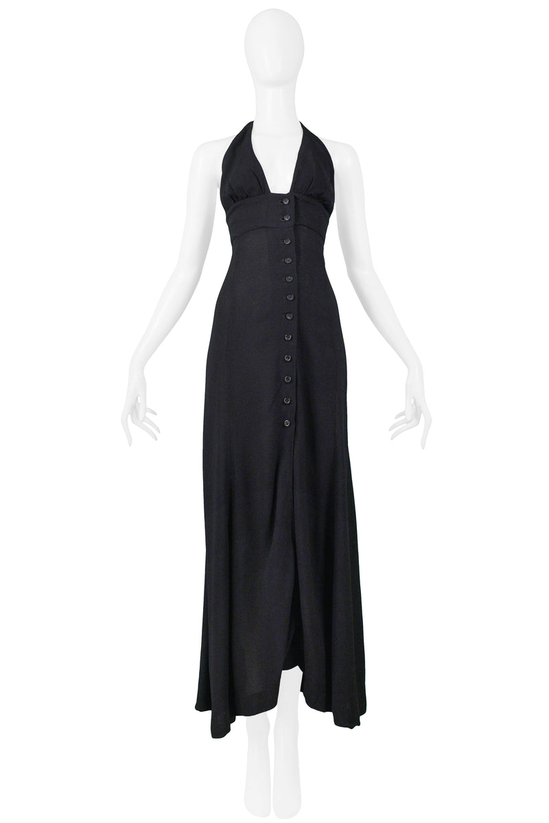 OSSIE BLACK MOSS CREPE HALTER DRESS