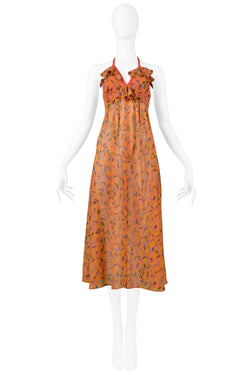 OSSIE CLARK ORANGE SQUIGGLE DRESS