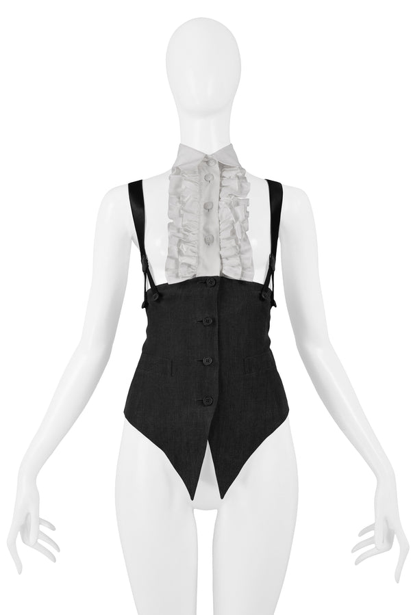 OZBEK BLACK SUSPENDER TOP WITH ATTACHED RUFFLE & COLLAR