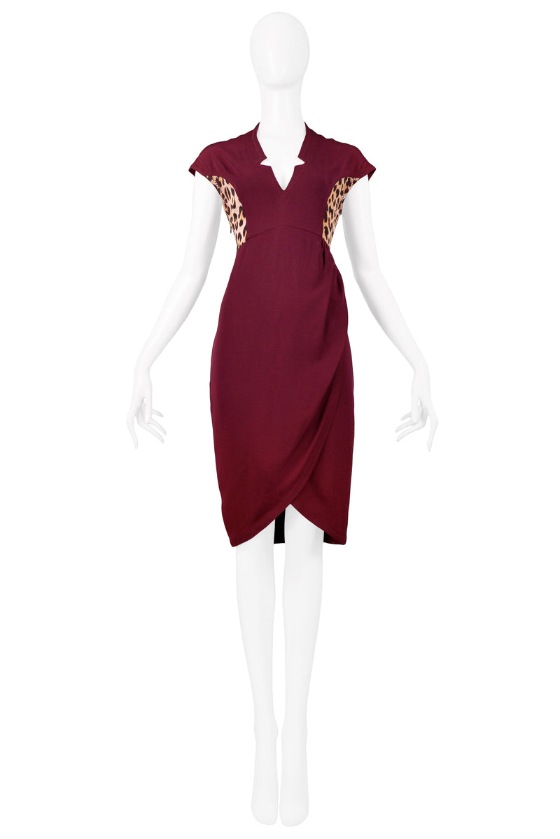 OZBEK BURGUNDY LEOPARD INSERT DRESS WITH WRAP DRAPE EFFECT