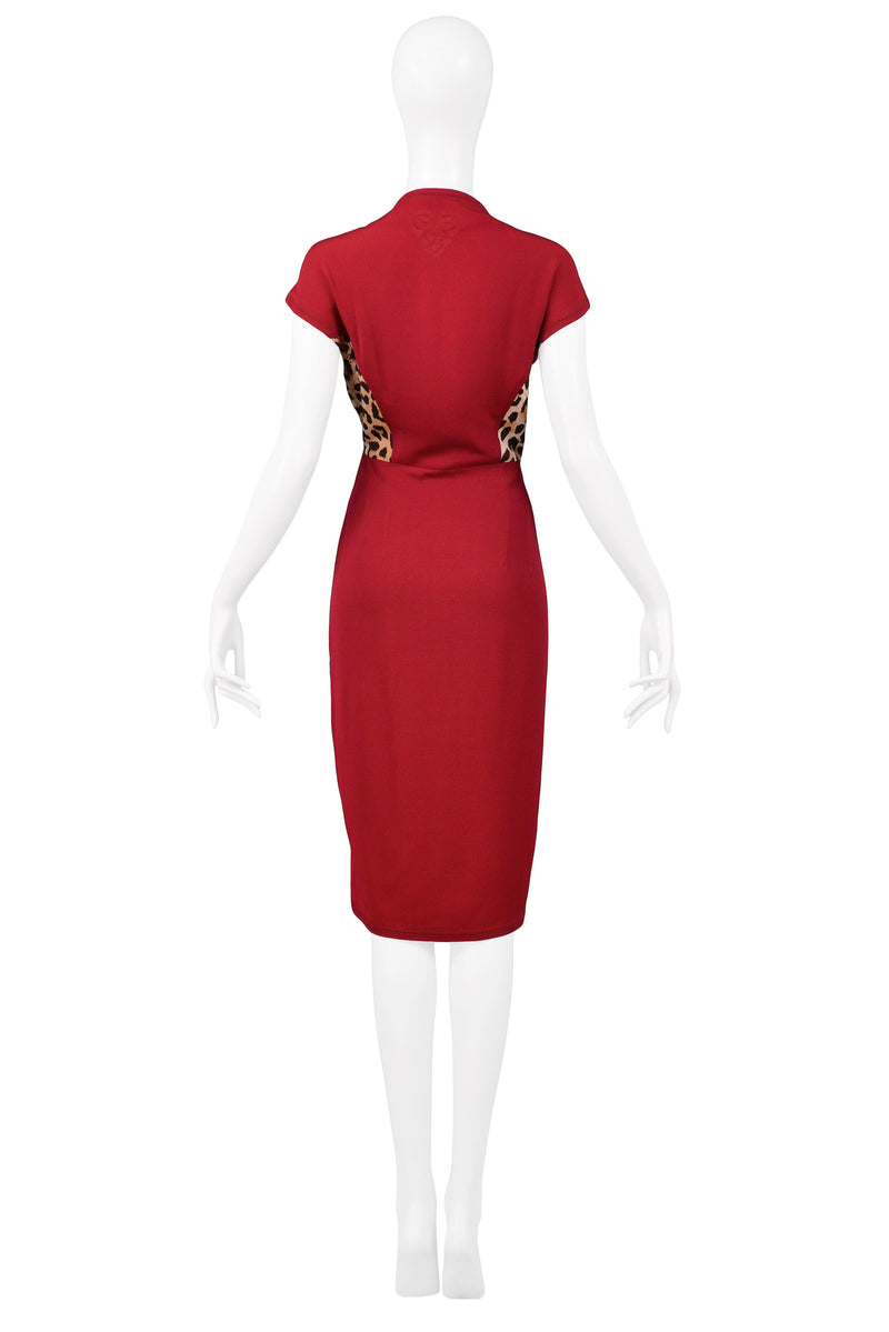 OZBEK CRANBERRY & LEOPARD INSERT DRESS WITH WRAP DRAPE EFFECT